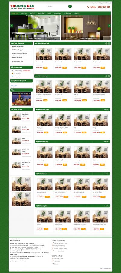 Web bán nội thất xanh lá cây